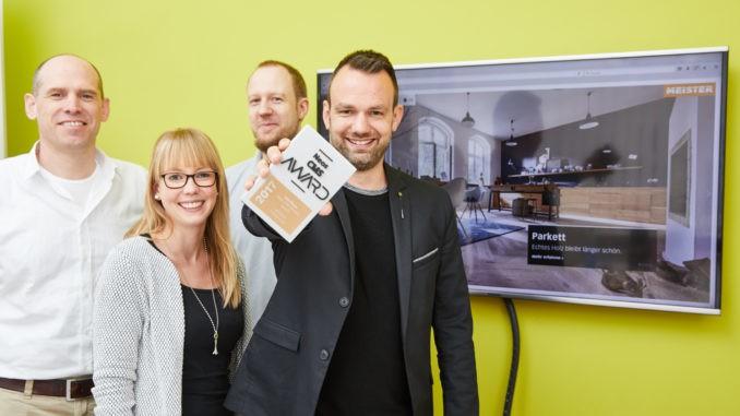 Freuen sich über die Auszeichnung der neuen Meister-Marken-Website (v. l.): Jan-Peter Schlicht (CORE4), Anna Kußmann (Meister Werke), Bernhard Schmitt (CORE4) und Jörg Peterburs (Meister Werke). Bild: CORE4