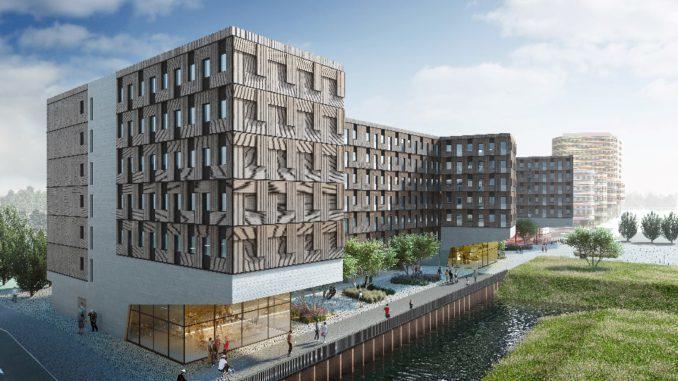 In Hamburg wurde jetzt das Richtfest für das neue Studentenwohnheim Woodie im Stadtteil Wilhelmsburg gefeiert.