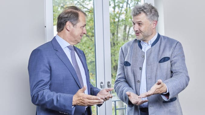 Holzforum-Gespräch mit dem Holzring-Beitrat: Im Bild der Vorsitzende Jörg L. Jordan und sein Stellvertreter Stefan Thalhofer.