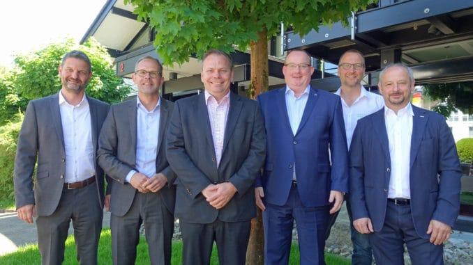Die neue Spitze des vdp: Peter M. Hamberger, Geschäftsführer Jan Kurth, Vorsitzender Michael Schmid, Bernhard ter Hürne, Alexander Drüsedau und Volker Kettler.