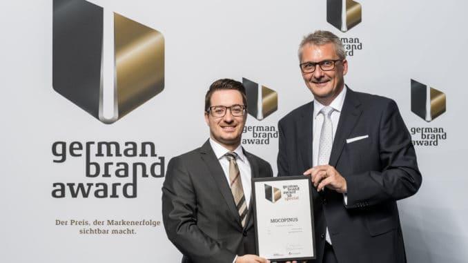German Brand Award 2018 ging an Mocopinus. Im Bild Geschäftsführer Ulrich Braig (r.) und Eric Erdmann.